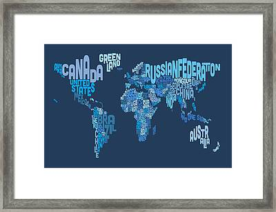 Text Map Of The World Map Framed Print