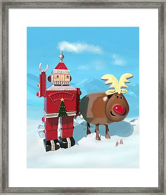The Adventures Of Oh Deer And Robo Santa Framed Print by Kevin Hill
