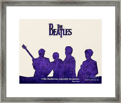 The Beatles Portrait - Ringo Starr Quote Framed Print by Pablo Franchi