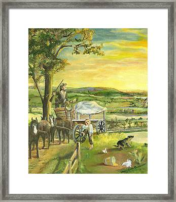 Framed Print featuring the painting The Farm Boy And The Roads That Connect Us by Mary Ellen Anderson