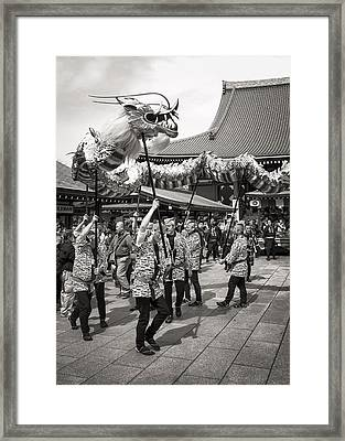 The Golden Dragon Dance Of Senso-ji Framed Print by For Ninety One Days