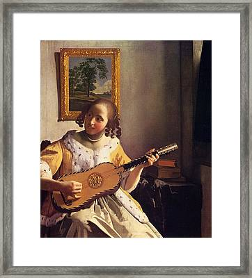 The Guitar Player Framed Print by Johannes Vermeer