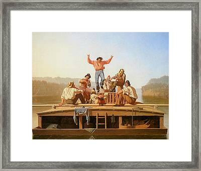 The Jolly Flatboatmen Framed Print by George Caleb Bingham