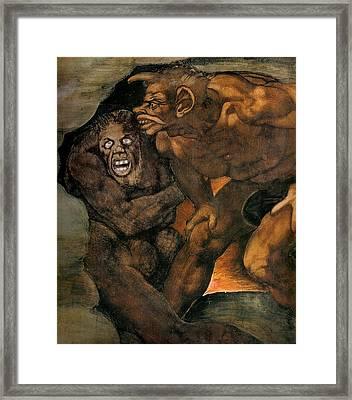 The Last Judgment - Detail Framed Print by Michelangelo Buonarroti
