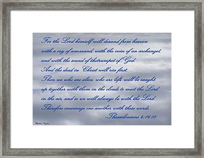 The Lord Himself Will Descend Framed Print by Barbara Snyder