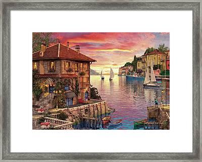 The Mediterranean Harbour Framed Print by Dominic Davison