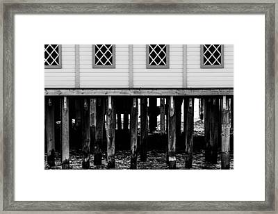 The Pier In Black And White Framed Print