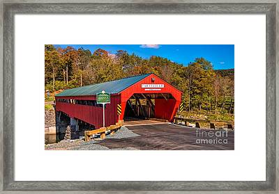 The Rebuilt Taftsville Covered Bridge. Framed Print by New England Photography