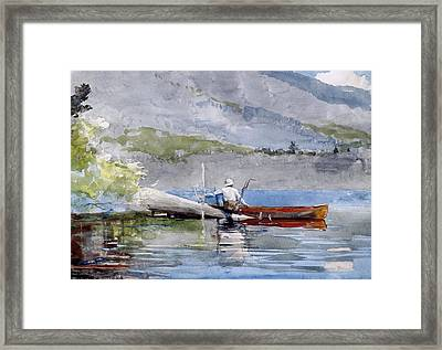 The Red Canoe Framed Print by Celestial Images