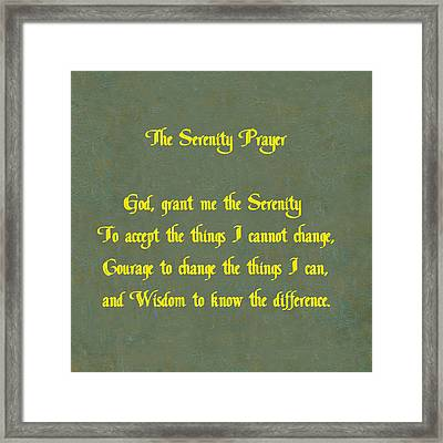 The Serenity Prayer Framed Print by Philip Ralley