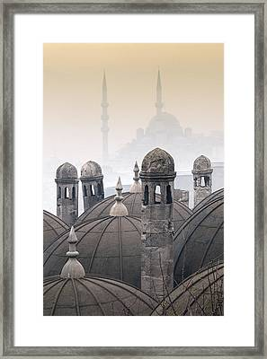 The Suleymaniye Mosque And New Mosque In The Backround Framed Print