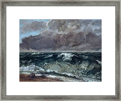 The Wave Framed Print by Gustave Courbet