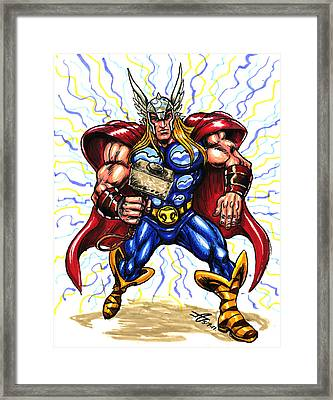 Framed Print featuring the drawing Thor  by John Ashton Golden