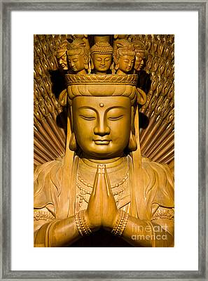 Thousand Hands Of God Image Make Of Wood Carving Chinese Art In  Framed Print by Tosporn Preede
