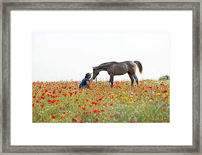 Three At The Poppies' Field... 4 Framed Print