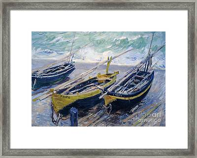 Three Fishing Boats Framed Print by Claude Monet