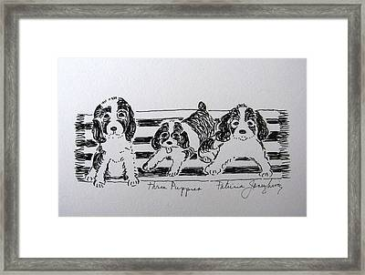 Framed Print featuring the drawing Three Puppies by Patricia Januszkiewicz