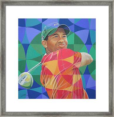 Framed Print featuring the drawing Tiger Woods by Joshua Morton