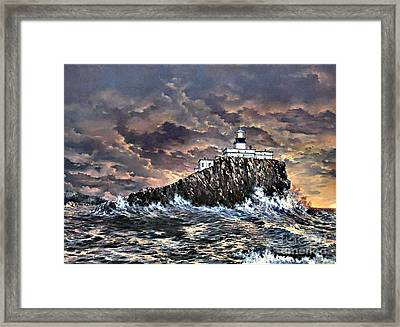 Framed Print featuring the painting Tillamook Rock Light by Lynne Wright