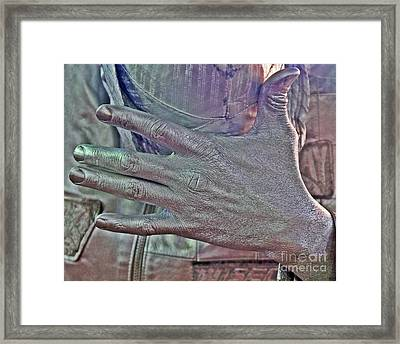 Framed Print featuring the photograph Tin Man Hand by Lilliana Mendez