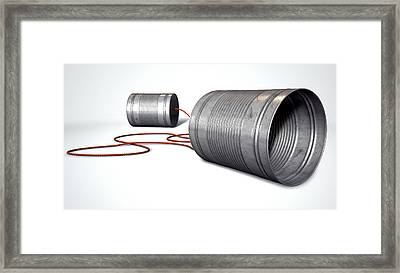Tin Telephones Framed Print by Allan Swart