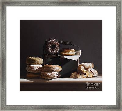 Tin With Donuts Framed Print by Larry Preston