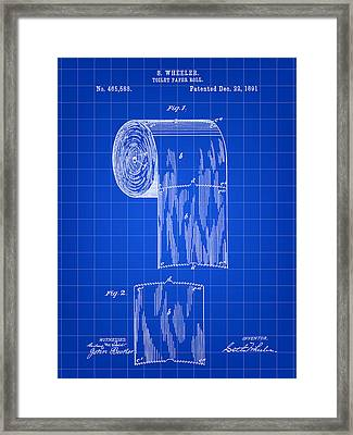Toilet Paper Roll Patent 1891 - Blue Framed Print by Stephen Younts