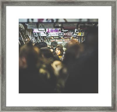 Tokyo Japan Train Woman Framed Print by Cory Dewald
