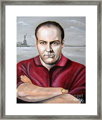 Framed Print featuring the painting Tony Soprano by Patrice Torrillo