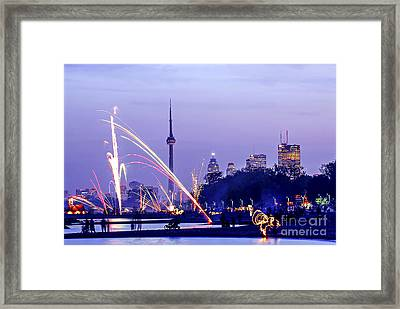 Toronto Fireworks Framed Print