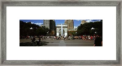 Tourists At A Park, Washington Square Framed Print