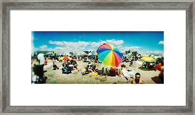 Tourists On The Beach, Coney Island Framed Print