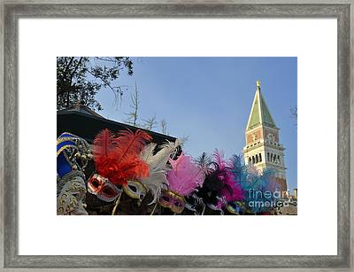 Traditional Venetian Masks With Feathers  Framed Print by Sami Sarkis