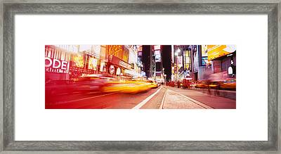 Traffic On The Road, Times Square Framed Print by Panoramic Images