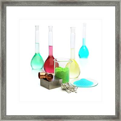 Transition Elements And Their Salts Framed Print by Science Photo Library