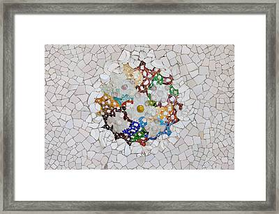 Trencadis Mosaic In Park Guell In Barcelona Framed Print