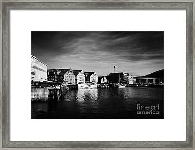 Tromso Bryggen Wharf Old Buildings Harbour Troms Norway Europe Framed Print