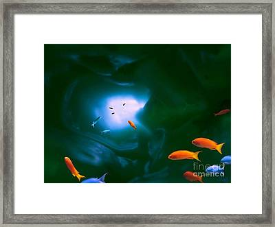 Framed Print featuring the mixed media Tropical Sea Cave by Steed Edwards