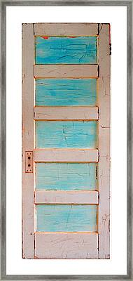 Turquoise Doorway And Ladder To The Sky Framed Print by Asha Carolyn Young