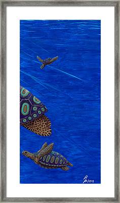 Framed Print featuring the painting Turtle Painting Bomber Triptych 3 by Rebecca Parker