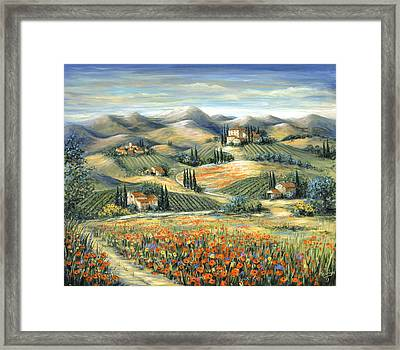 Tuscan Villa And Poppies Framed Print