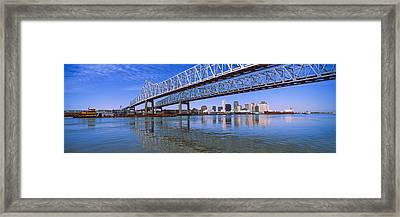 Twins Bridge Over A River, Crescent Framed Print by Panoramic Images