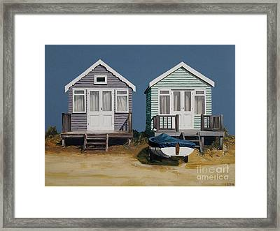 Two Beach Huts And Boat Framed Print by Linda Monk