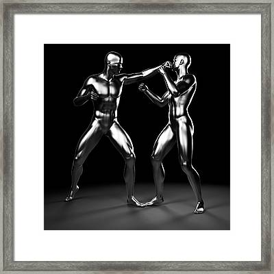 Two Boxers Fighting Framed Print