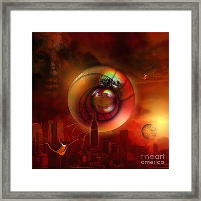 Two Redeemed Souls Hovering In The Sky Framed Print