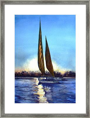 Two Sails At Sunset Framed Print by Ruth Bodycott