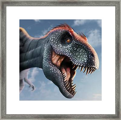 Tyrannosaurus Rex Head Framed Print by Mark Garlick