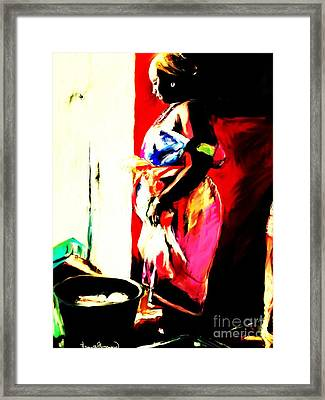 Framed Print featuring the painting Ugunda Fish Lady by Vannetta Ferguson