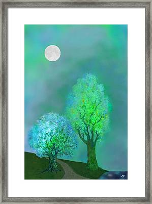 unbordered DREAM TREES AT TWILIGHT Framed Print by Mathilde Vhargon