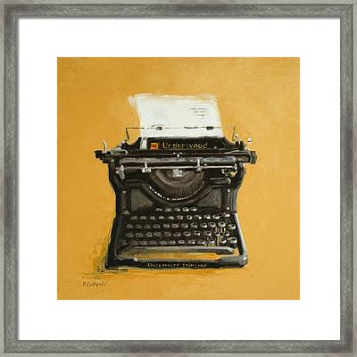 Underwood Typewriter Framed Print by Patricia Cotterill